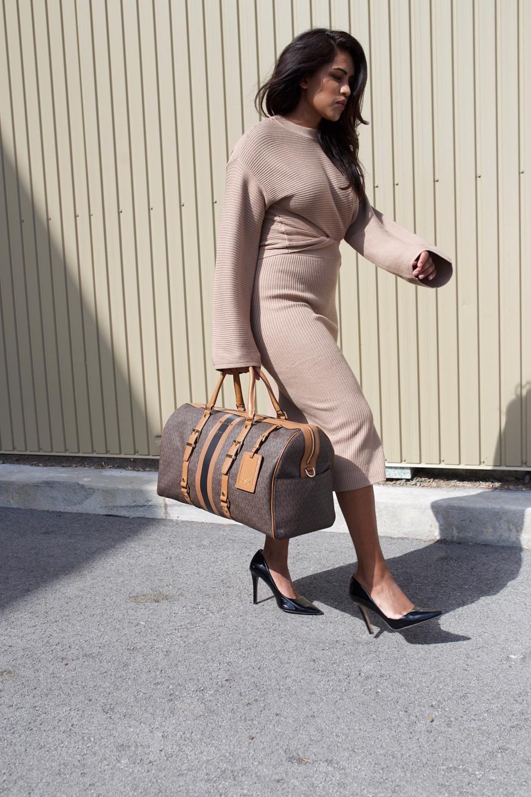 Co-Ord Outfit with Heels and Weekender Bag